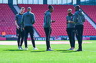 Charlton Athletic players arrive at the ground during the EFL Sky Bet League 1 play off first leg match between Doncaster Rovers and Charlton Athletic at the Keepmoat Stadium, Doncaster, England on 12 May 2019.