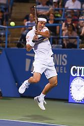 August 2, 2018 - Washington, D.C, U.S - KEI NISHIKORI hits a backhand during his 3rd round match at the Citi Open at the Rock Creek Park Tennis Center in Washington, D.C. (Credit Image: © Kyle Gustafson via ZUMA Wire)
