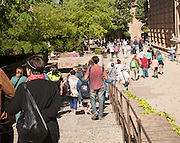 Tourists outside the Palacio de Carlos V, Palace of King Charles the Fifth, the Alhambra complex, Granada, Spain
