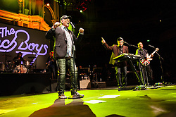 © Licensed to London News Pictures. 30/05/2015. London, UK.   The Beach Boys performing live at Royal Albert Hall.   In this picture - Mike Love (left), Bruce Johnston (right).  For this tour the bands line-up is led by original members Mike Love and Bruce Johnston, joined by a touring band consisting of Jeffery Foskett (guitar/vocals), Randell Kirsch (bass/vocals), Tim Bonhomme (Keyboards/vocals), John Cowslip (percussion/vocals) and Scott Totten (guitar/vocals).  Photo credit : Richard Isaac/LNP