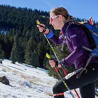 First-place female soloist Michelle Hummel races toward the summit during the Mount Taylor Quadrathlon in Grants Saturday.