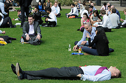 © Licensed to London News Pictures. 24/04/2013.Lunch time sun today (24.04.2013) for city workers.Trinity Square Gardens,London EC3..Photo credit : Grant Falvey/LNP