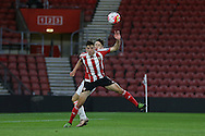 Southampton Florin Gardos wins the ball in the air during the Barclays U21 Premier League match between U21 Southampton and U21 Manchester United at the St Mary's Stadium, Southampton, England on 25 April 2016. Photo by Phil Duncan.