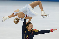 The XXII Winter Olympic Games 2014 in Sotchi, Olympics, Olympische Winterspiele Sotschi 2014, Figure Skating, Pairs Short Program,<br /> Tatyana Volosozhar and Maxim Trankov (Russia)  perform their short program in the pair skating competition at the XXII Olympic Winter Games *** Local Caption ***