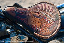 John Landstrom's (Blue Moon Cycles, Atlanta, GA) flathead Indian chopper at the AMCA swap meet in New Smyrina, FL during Daytona Bike Week, FL., USA. March 8, 2014.  Photography ©2014 Michael Lichter.