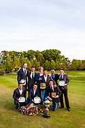 17-05-2015 NGF Competitie 2015, Hoofdklasse Heren - Dames Standaard - Finale, Golfsocieteit De Lage Vuursche, Den Dolder, Nederland. 17 mei. Heren Noordwijkse: team tijdens de prijsuitreiking.