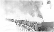 """Five RGS locomotives pushing rotary #2.<br /> RGS  Butterfly, CO  <br /> In book """"Rio Grande Southern II, The: An Ultimate Pictorial Study"""" page 107"""