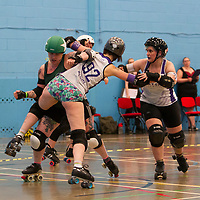 Manchester Roller Derby's Checkerbroads take on Rainy City Roller Derby's Revolution in the British ChampsTier 1 Women's North competition at the University of Salford Sports Centre, Salford, UK 2019-07-06