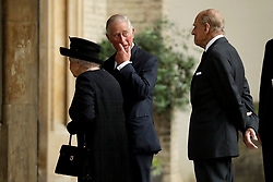 The Prince of Wales greets Queen Elizabeth II and the Duke of Edinburgh at the funeral of Countess Mountbatten of Burma at St Paul's Church, Knightsbridge, London. ... 27-06-2017 ... Photo by: Matt Dunham/PA Wire.URN:31853655