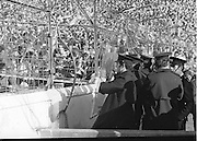 Gardi in protective gear, monitoring crowds at the All Ireland Football Final Dublin v Armagh at Croke Park, 25th September 1977.