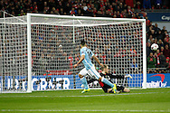 Sergio Aguero of Manchester City sees his effort go wide. Capital One Cup Final, Liverpool v Manchester City at Wembley stadium in London, England on Sunday 28th Feb 2016. pic by Chris Stading, Andrew Orchard sports photography.