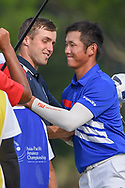 Luke BROWN (NZL) and Yung-Hua LIU (TPE) shake hands following Rd 1 of the Asia-Pacific Amateur Championship, Sentosa Golf Club, Singapore. 10/4/2018.<br /> Picture: Golffile | Ken Murray<br /> <br /> <br /> All photo usage must carry mandatory copyright credit (© Golffile | Ken Murray)