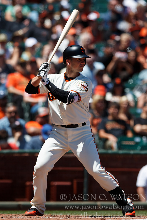 SAN FRANCISCO, CA - JULY 15: Buster Posey #28 of the San Francisco Giants at bat against the Oakland Athletics during the fourth inning at AT&T Park on July 15, 2018 in San Francisco, California. The Oakland Athletics defeated the San Francisco Giants 6-2. (Photo by Jason O. Watson/Getty Images) *** Local Caption *** Buster Posey