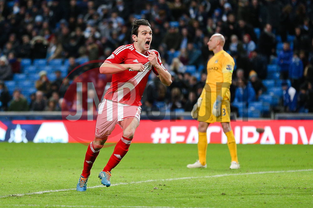 Middlesbrough's Kike celebrates after scoring Middlesbrough's second goal - Photo mandatory by-line: Matt McNulty/JMP - Mobile: 07966 386802 - 24/01/2015 - SPORT - Football - Manchester - Etihad Stadium - Manchester City v Middlesbrough - FA Cup Fourth Round