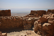 A view of the Southern part of the Dead Seaa with the fortress of at Masada<br /> Photo by Dennis Brack