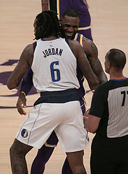 October 31, 2018 - Los Angeles, California, U.S - LeBron James #23 of the Los Angeles Lakers greets DeAndre Jordan #6 of the Dallas Mavericks prior to their NBA game on Wednesday October 31, 2018 at the Staples Center in Los Angeles, California. (Credit Image: © Prensa Internacional via ZUMA Wire)
