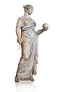 Second century AD Roman statue of Urania holding, the muse of atronomy holding  a globe, the statue was restored from two separte staues of the period, inv 293, Vatican Museum Rome, Italy,  white background ..<br /> <br /> If you prefer to buy from our ALAMY STOCK LIBRARY page at https://www.alamy.com/portfolio/paul-williams-funkystock/greco-roman-sculptures.html . Type -    Vatican    - into LOWER SEARCH WITHIN GALLERY box - Refine search by adding a subject, place, background colour, museum etc.<br /> <br /> Visit our CLASSICAL WORLD HISTORIC SITES PHOTO COLLECTIONS for more photos to download or buy as wall art prints https://funkystock.photoshelter.com/gallery-collection/The-Romans-Art-Artefacts-Antiquities-Historic-Sites-Pictures-Images/C0000r2uLJJo9_s0c