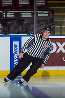 KELOWNA, CANADA - NOVEMBER 10: Linesman Kevin Crowell skates at the Kelowna Rockets against the Vancouver Giants on November 10, 2017 at Prospera Place in Kelowna, British Columbia, Canada.  (Photo by Marissa Baecker/Shoot the Breeze)  *** Local Caption ***
