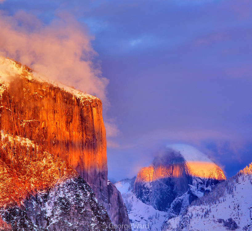 El Capitan and Half Dome at Sunset, Yosemite National Park, California