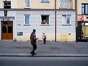 """Street scene close to """"Ohrada"""" in Prague, Žižkov."""