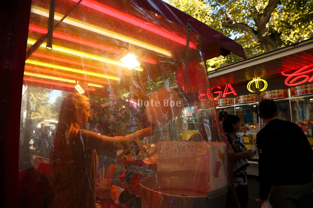 cotton candy stand at a fairground