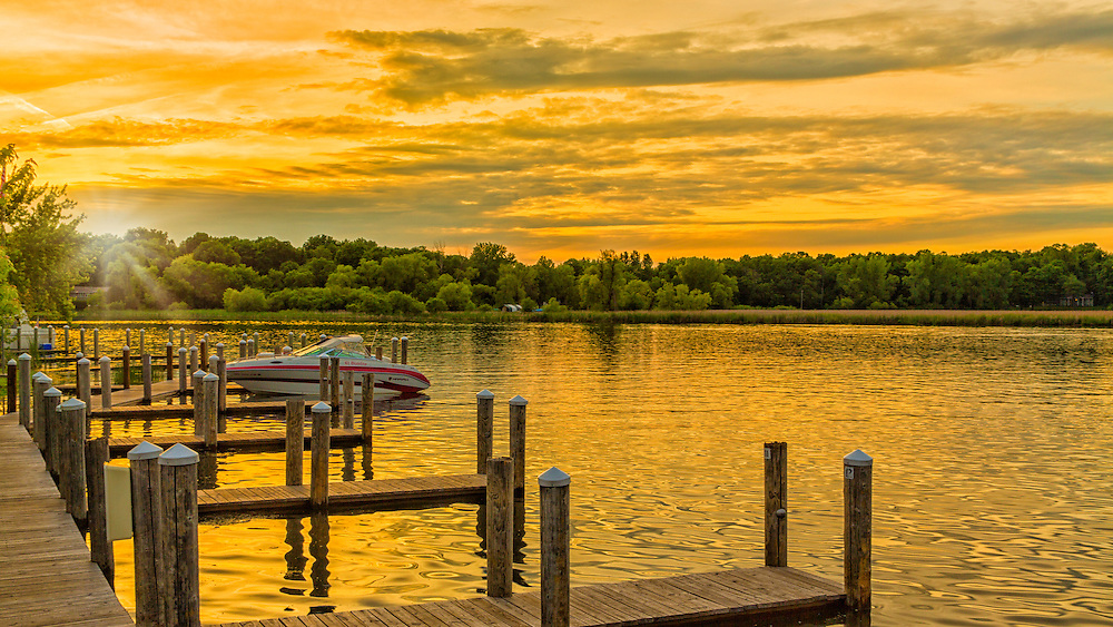 A sunset view from Lord Fletcher's dock on Lake Minnetonka, Minnesota
