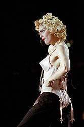 File photo dated 20/07/1990 of Madonna performing to a crowd of 74,000 fans at Wembley Stadium, in London. The pop superstar will celebrate her 60th birthday on Thursday, following a long career of reinvention and controversy.