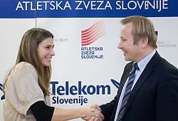 Marija Sestak and Peter Kukovica when Slovenian athletes and their coaches sign contracts with Athletic federation of Slovenia for year 2009,  in Ljubljana, Slovenia, on March 2, 2009. (Photo by Vid Ponikvar / Sportida)