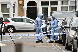 ©Licensed to London News Pictures; 24/10/2020, London UK; Met Police forensic officers on a murder investigation in Walthamstow after a 17 year old male was found in Westbury road with stab wounds at around 9.30 on Friday evening, he was pronounced dead at the scene: Photo credit, Steve Poston/LNP