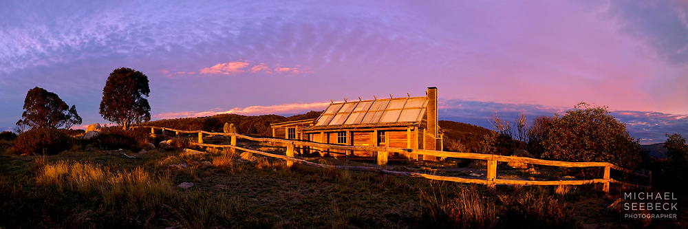 A Panoramic Photograph of Craig's Hut taken at sunrise.<br /> <br /> Code: HAVA0003<br /> <br /> Limited Edition Print