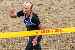 Raïsa Schoon in action. The DELA NK Beach volleyball for men and women will be played in The Hague Beach Stadium on the beach of Scheveningen on 22 July 2020 in Zaandam.