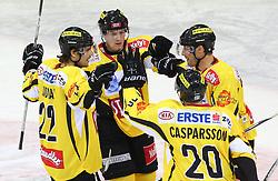 17.01.2012, Albert Schultz Halle, Wien, AUT, EBEL, UPC Vienna Capitals vs SAPA Fehervar AV19, im Bild Torjubel Marcel Rodman, (UPC Vienna Capitals, #22), Filip Gunnarsson, (UPC Vienna Capitals, #58), Peter Casparsson, (UPC Vienna Capitals, #20) und Pat Kavanagh, (UPC Vienna Capitals, #17)  // during the icehockey match of EBEL between UPC Vienna Capitals (AUT) and SAPA Fehervar AV19 (HUN) at Albert Schultz Halle, Vienna, Austria on 17/01/2012,  EXPA Pictures © 2012, PhotoCredit: EXPA/ T. Haumer