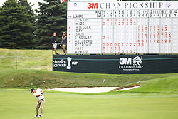 August 3, 2018 - Blaine, MN, U.S. - BLAINE, MN - AUGUST 03: Willie Wood hits his approach shot on 18 during the first round of the 3M Championship on August 3, 2018 at TPC Twin Cities in Blaine, Minnesota. (Photo by David Berding/Icon Sportswire) (Credit Image: © David Berding/Icon SMI via ZUMA Press)