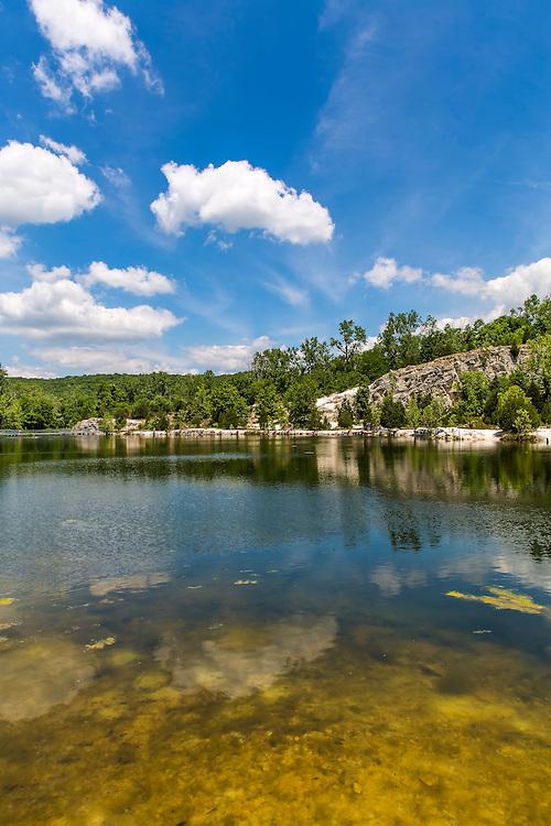 Bright Blue Summer Skies Above Klondike Park Lake