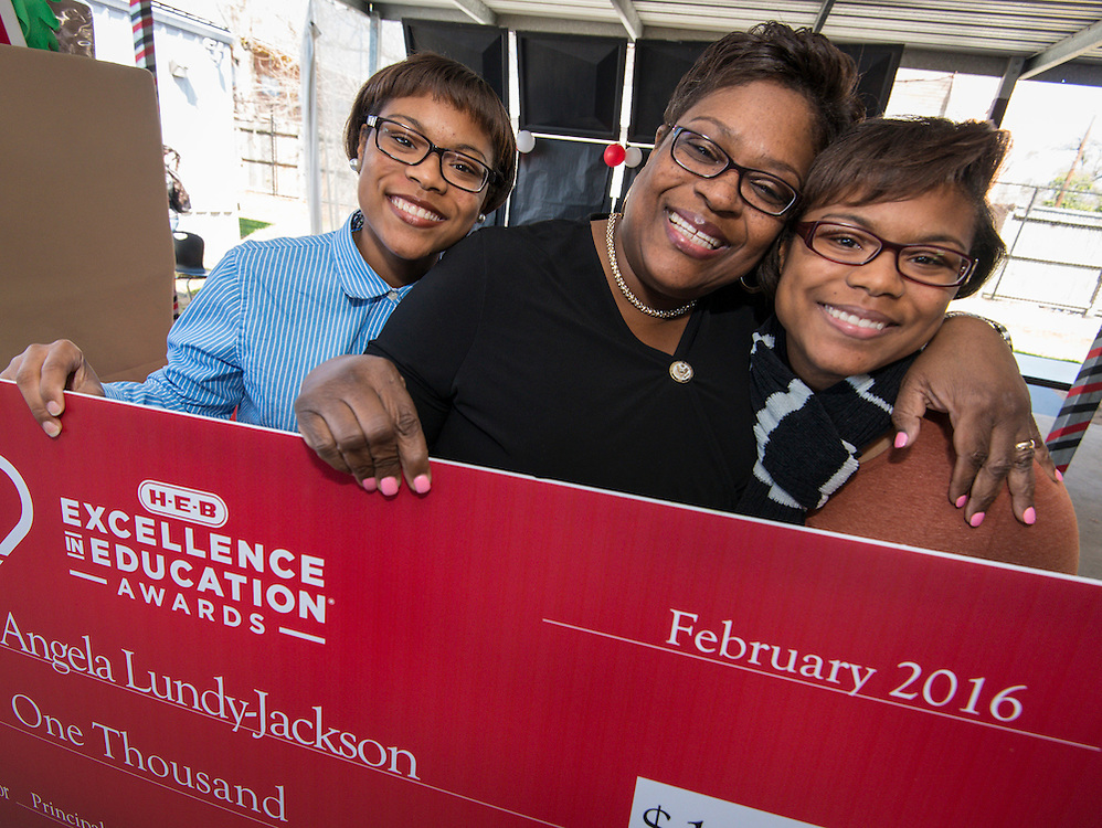 Angela Lundy-Jackson is named a finalist for the 2016 HEB Excellence in Education Award at North Early College High School, February 24, 2016.