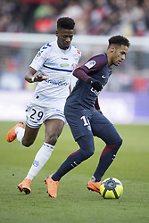 Neymar Jr of Paris Saint-Germain in action with Nuno Da Costa Joia of RC Strasbourg during the Ligue 1 match between Paris Saint Germain and RC Strasbourg at the Parc des Princes in Paris, FRANCE on February 17, 2018.Paris Saint Germain won RC Strasbourg with 5-2 (Credit Image: © Jack Chan/Chine Nouvelle/Xinhua via ZUMA Wire)