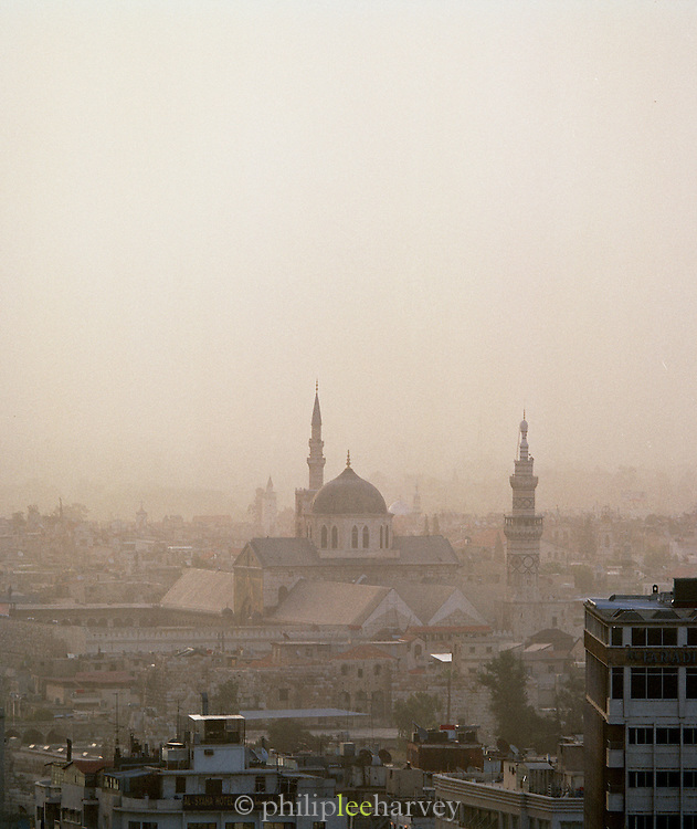 The skyline of the old city, with the ancient Ummayad Mosque, in Damascus, Syria