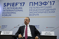 June 2, 2017 - Saint Petersburg, Russia - Minister of Energy, Industry and Mineral Resources of the Kingdom of Saudi Arabia  H.E. Khalid A. Al-Falih attends a session of the St. Petersburg International Economic Forum (SPIEF), Russia, June 2, 2017  (Credit Image: © Igor Russak/NurPhoto via ZUMA Press)