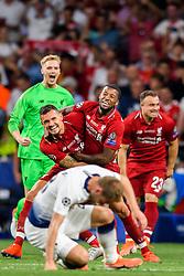 June 2, 2019 - Madrid, Spain - 190602 Dejan Lovren and Georginio Wijnaldum of Liverpool celebrate after the UEFA Champions League final between Tottenham and Liverpool on June 2, 2019 in Madrid..Photo: Petter Arvidson / BILDBYRÃ…N / kod PA / 92302 (Credit Image: © Petter Arvidson/Bildbyran via ZUMA Press)