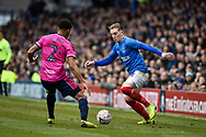 Queens Park Rangers Defender, Darnell Furlong (2) and Portsmouth Midfielder, Ronan Curtis (11) compete for the ball during the The FA Cup fourth round match between Portsmouth and Queens Park Rangers at Fratton Park, Portsmouth, England on 26 January 2019.