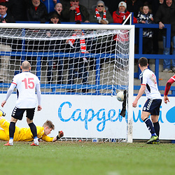 TELFORD COPYRIGHT MIKE SHERIDAN 9/3/2019 - GOAL. Joe Bursik of AFC Telford dives but can't keep out Kurt Willoghby's effort to make it 3-0 during the National League North fixture between AFC Telford United and FC United of Manchester (FCUM) at the New Bucks Head Stadium