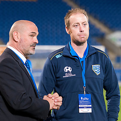 BRISBANE, AUSTRALIA - SEPTEMBER 20: Gold Coast City coach Grae Piddick looks on after the Westfield FFA Cup Quarter Final match between Gold Coast City and South Melbourne on September 20, 2017 in Brisbane, Australia. (Photo by Gold Coast City FC / Patrick Kearney)