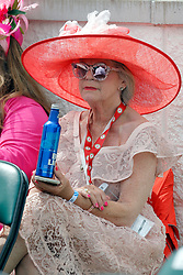 May 3, 2019 - Louisville, KY, U.S. - LOUISVILLE, KY - MAY 03: Fancy hats were on display while enjoying a cold beverage during Kentucky Oaks day at Churchill Downs Racetrack on May 4, 2018 in Louisville, Kentucky. (Photo by Jeffrey Brown/Icon Sportswire) (Credit Image: © Jeffrey Brown/Icon SMI via ZUMA Press)