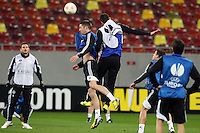 Chelsea's players vie for the ball during a training session on March 6, 2013 at the National Arena Stadium one day before the UEFA Europa League football match against Steaua Bucharest.