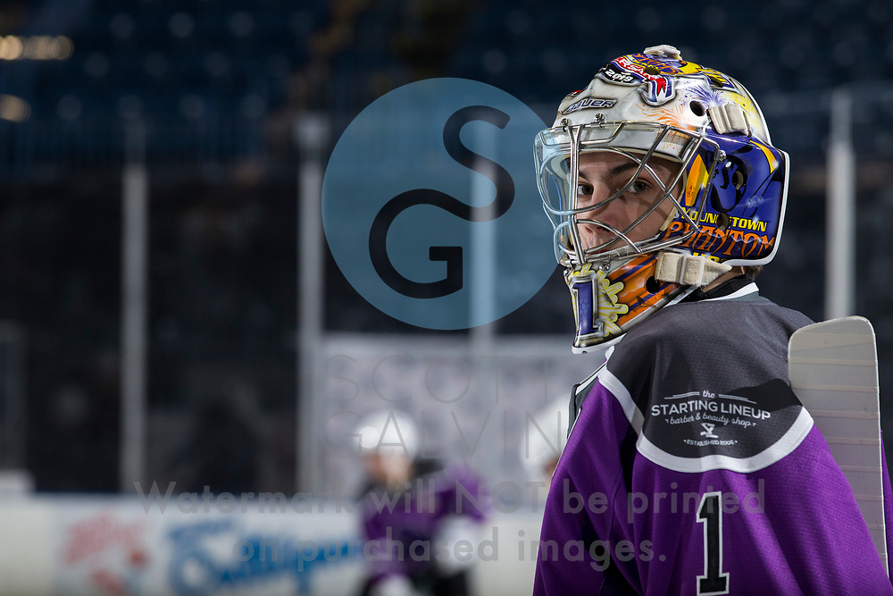 Youngstown Phantoms lose 3-2 in a shootout to the Muskegon Lumberjacks at the Covelli Centre on February 27, 2021.<br /> <br /> Colin Purcell, goalie, 1