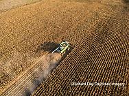 63801-08516 Corn Harvest, John Deere combine harvesting corn - aerial Marion Co. IL