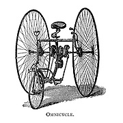 Omnicycle a tricycle with two large rear wheels From Wheels and Wheeling; An indispensable handbook for cyclists, with over two hundred illustrations by Porter, Luther Henry. Published in Boston in 1892