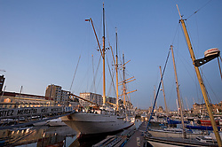 Ships anchored in the harbor in Ostend, Belgium, Sunday, Sept. 14, 2008. (Photo © Jock Fistick)