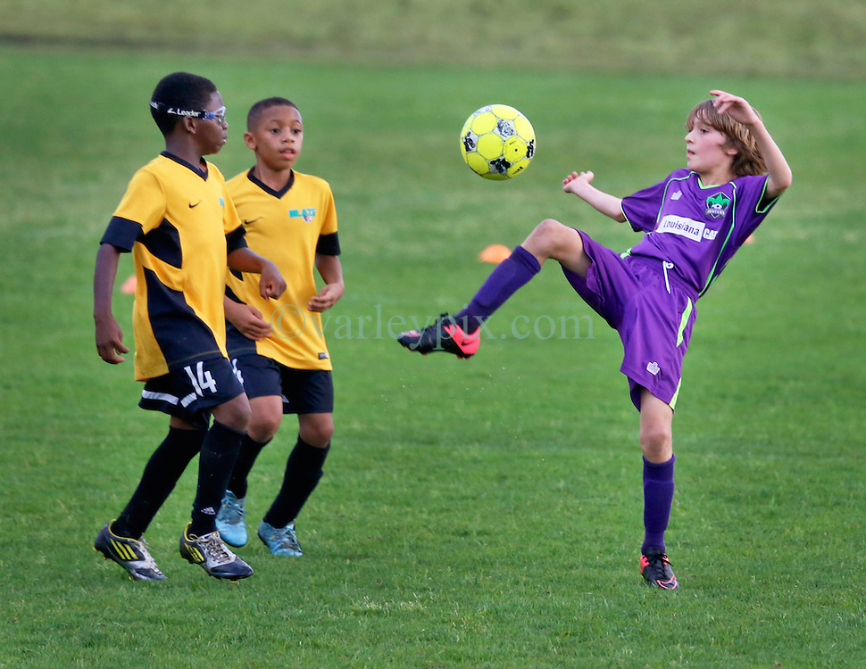 30 April 2016. Memphis, Tennessee. <br /> The Adidas Premier Invitational hosted by the Mike Rose Soccer Complex. <br /> New Orleans Jesters Youth Academy U10 Purple v Southwest Jackson SL Blaze (MS).<br /> Jesters win 4-3.<br /> Photo©; Charlie Varley/varleypix.com