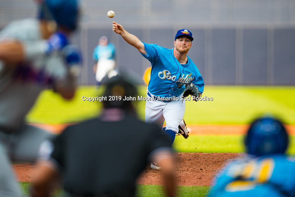 Amarillo Sod Poodles pitcher T.J. Weir (7) pitches against the Midland RockHounds on Saturday, May 25, 2019, at HODGETOWN in Amarillo, Texas. [Photo by John Moore/Amarillo Sod Poodles]